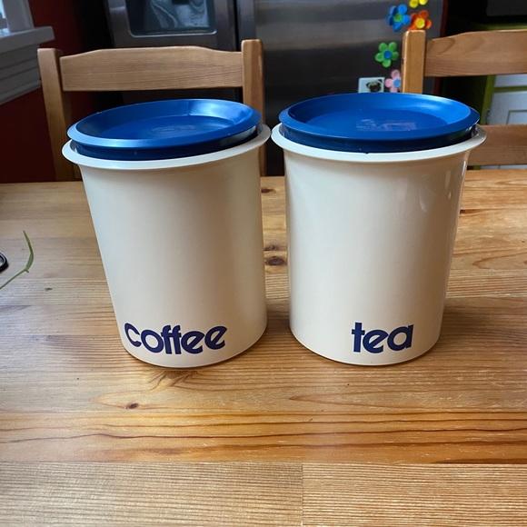 Vintage Coffee and Tea Plastic Canisters